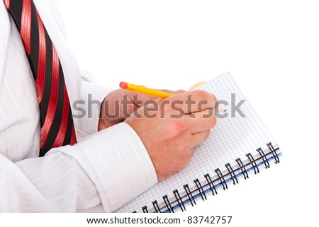 Hand writing in notebook. - stock photo
