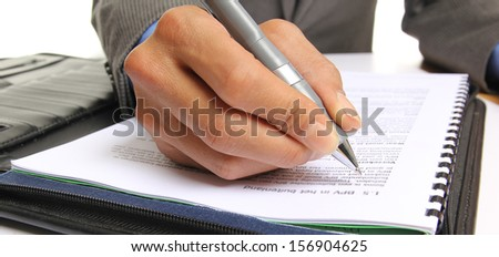 Hand writing in the document - stock photo