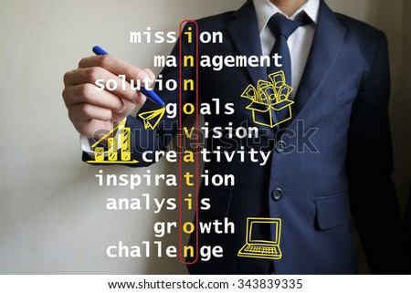 hand writing innovation puzzle words crossword, business idea , business concept