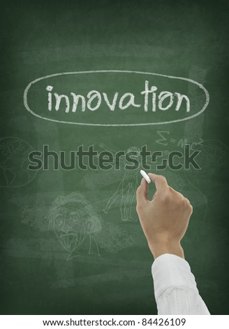 Hand writing innovation word on chalkboard - stock photo
