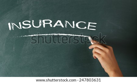 Hand Writing Insurance on Chalkboard  - stock photo