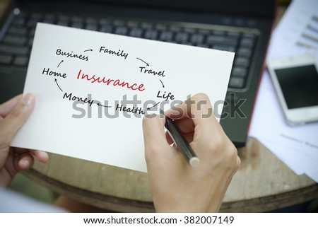 hand writing  insurance Plan concept on white notebook , insurance concept  - stock photo