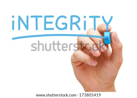 Hand writing Integrity with blue marker on transparent wipe board. - stock photo