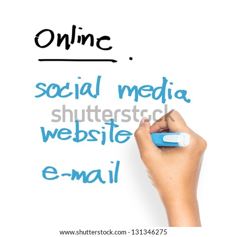 Hand writing Internet marketing concept on whiteboard - stock photo