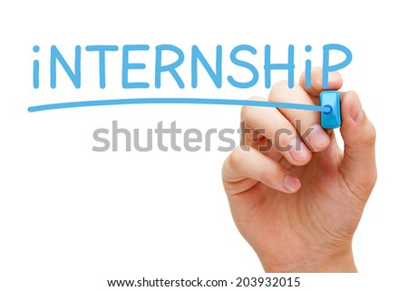 Hand writing Internship with blue marker on transparent wipe board. - stock photo