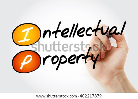 Hand writing IP - Intellectual Property with marker, acronym business concept - stock photo