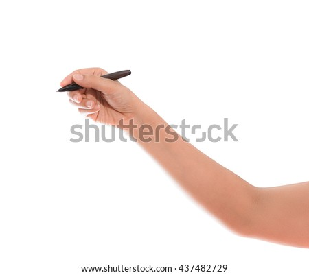 Hand writing is isolated on white background with clipping path - stock photo