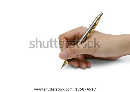 Hand writing isolated on the white background - stock photo