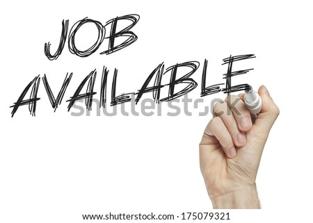 Hand writing job available on a white board - new job concept - stock photo
