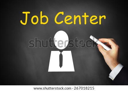 hand writing job center on black chalkboard employment - stock photo
