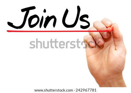 Hand writing Join Us with marker, business concept  - stock photo