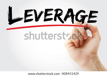 Hand writing Leverage with marker, business concept background - stock photo