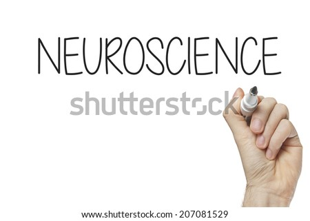 Hand writing neuroscience on a white board - stock photo
