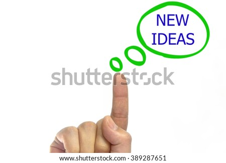 hand writing new idea on a transparent wipe board. talk bubble. isolated on white background - stock photo