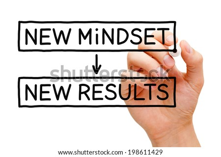 Hand writing New Mindset New Results with black marker on transparent wipe board. - stock photo