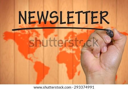 hand writing newsletter . - stock photo