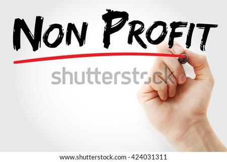 Hand writing Non Profit with marker, business concept background - stock photo