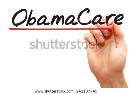Hand writing Obamacare with red marker, business concept - stock photo