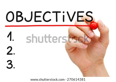 Hand writing Objectives to do list with marker isolated on white. - stock photo