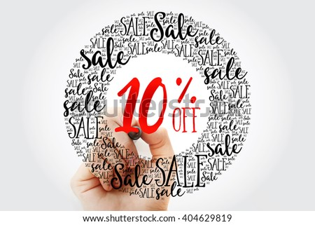 Hand writing 10% OFF circle word cloud, business concept background - stock photo