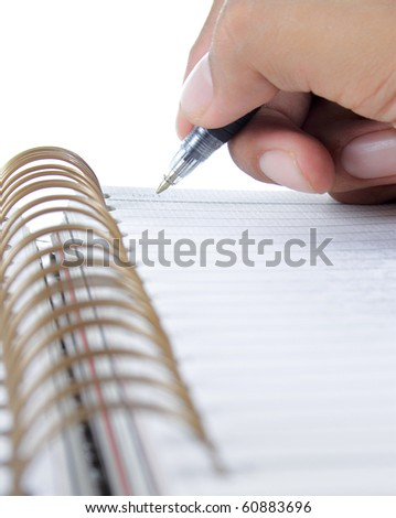 hand writing on a binder - stock photo