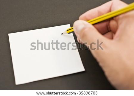 hand writing on black background - stock photo