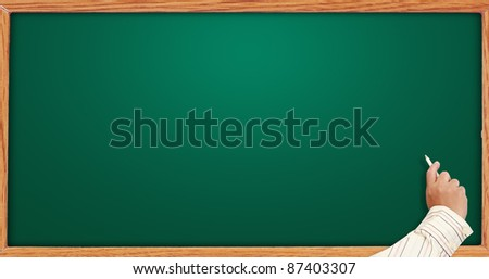 hand writing on blank blackboard. Useful as background space for text or image - stock photo