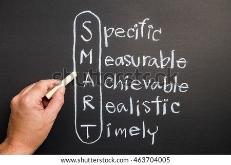 Hand writing on chalkboard, smart goal setting concept, smart acronym and definition