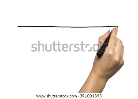 Hand writing on copy space. Beautiful female hand holding black marker pen . Brightly lit with backlight and isolated on white background. - stock photo
