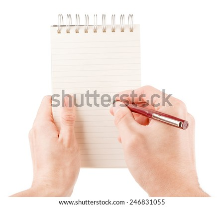 Hand writing on empty notepad (notebook) isolated on white