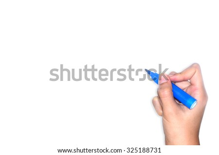 Hand writing on white background  - stock photo