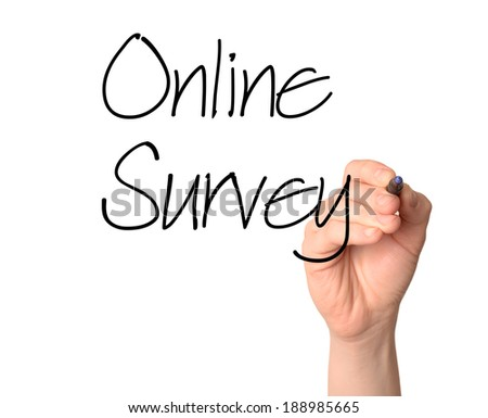 Hand writing Online Survey with black marker on transparent wipe board.  - stock photo