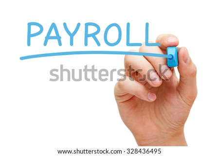 Hand writing Payroll with blue marker on transparent wipe board.