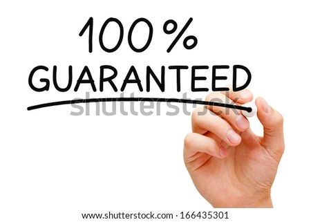 Hand writing 100 Percent Guaranteed with black marker on transparent wipe board. - stock photo