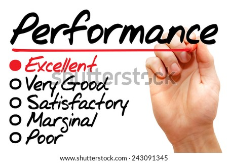 Hand writing Performance evaluation form, business concept - stock photo
