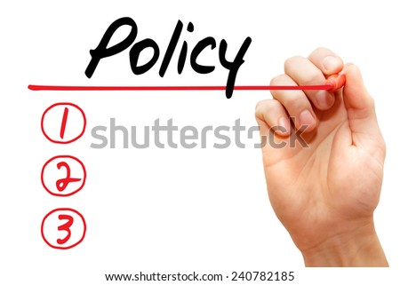 Hand writing Policy List with red marker, business concept - stock photo