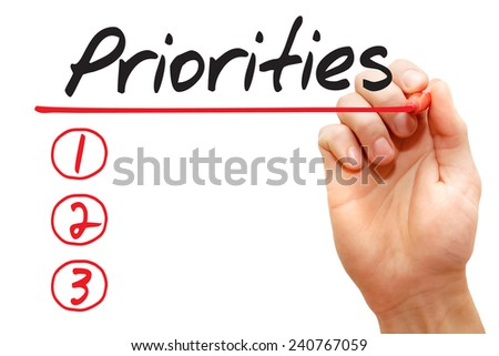Hand writing Priorities List with red marker, business concept - stock photo