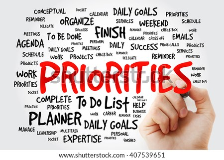 Hand writing PRIORITIES word cloud, business concept background