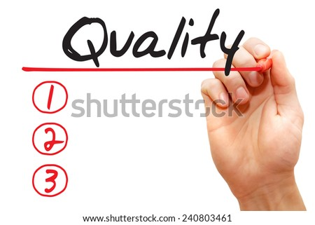 Hand writing Quality List with red marker, business concept  - stock photo