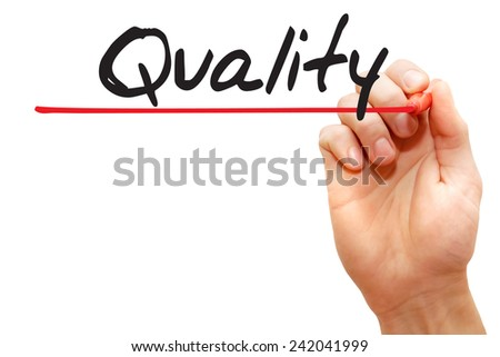 Hand writing Quality with red marker, business concept - stock photo