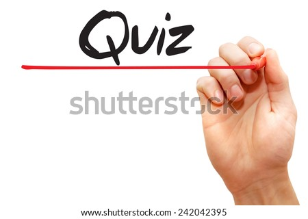 Hand writing Quiz with red marker, business concept - stock photo