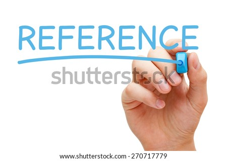 Hand writing Reference with blue marker on transparent wipe board. - stock photo