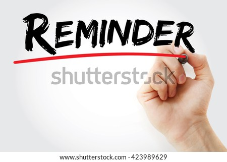 Hand writing Reminder with marker, business concept background - stock photo