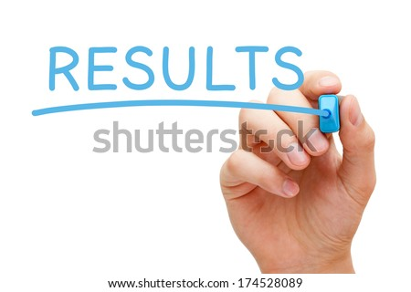 Hand writing Results with blue marker on transparent wipe board. - stock photo