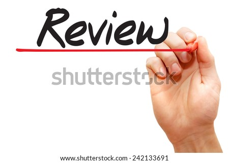 Hand writing Review with red marker, business concept - stock photo