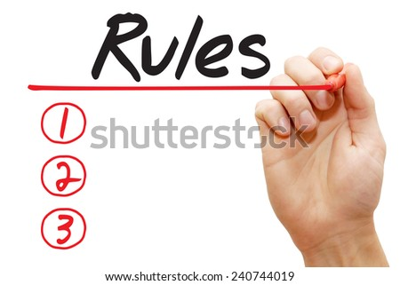 Hand writing Rules List with red marker, business concept - stock photo