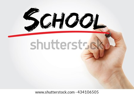 Hand writing School with marker, business concept - stock photo