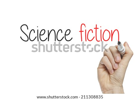 Hand writing science fiction on a white board - stock photo
