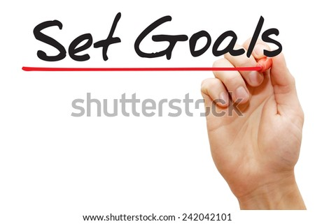 Hand writing Set Goals with red marker, business concept - stock photo