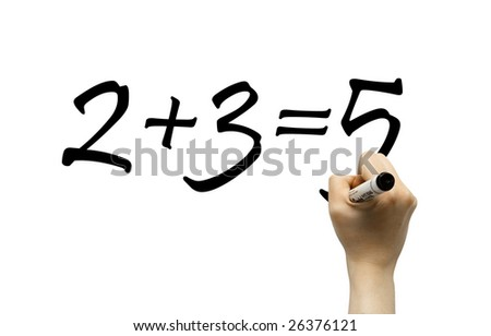 Hand writing simple math formula on a whiteboard - stock photo